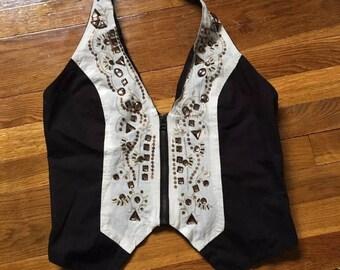 Beaded beige and black zip up women's vest