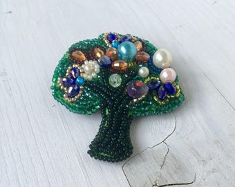 Magic tree brooch, Embroided tree brooch, handmade brooch, Tree brooch
