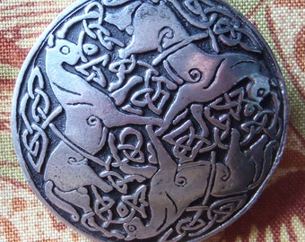 Embossed pewter celtic Inverurie horses design brooch original vintage hand made St Justin Cornwall signed