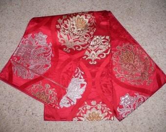 Rare Colour Authentic Japanese Vintage Silk Lustrous Burgundy Red , Silver & Gold Brocade Fukuro 4m Obi Belt - Table Runner Arabesque Floral