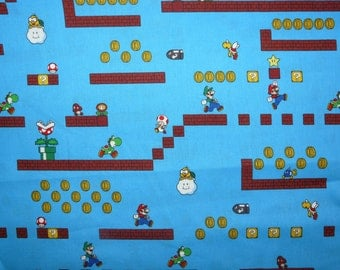 Fabric - Nintendo - game scenes- cotton print.