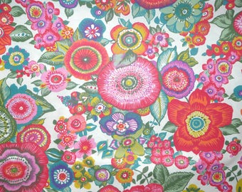 Fabric - Rico - bright floral - woven cotton