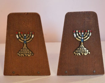 Wooden Hanukkah Bookends with Brass Enameled Menorah & Brass Hebrew Writing