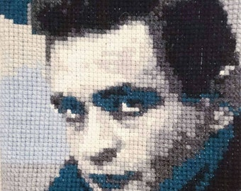 Johnny Cash embroidered portrait