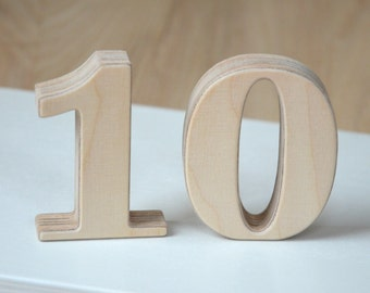 1-15 3'' Small Wooden Numbers, Free Standing Wedding Table Numbers for Decor, Stand Alone Cafe or Restaurant Table Numbers, Photo Props