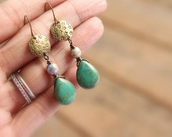Handmade Bohemian Earrings - Czech Glass Earrings - Turquoise Dangles - Teardrop Earrings - Boho Earrings - Rustic Earrings - Gift Ideas