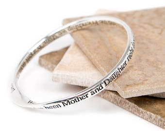 Mother & Daughter Friendship Message Bangle-Mother Daughter Gift-Slogan Bangle-Silver plated Bangle