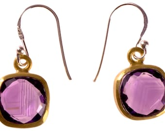 Silver square faceted Amethyst purple, 925 sterling silver gold plated stone (No. OSG-57)