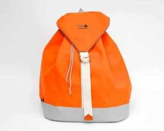 Casual Backpack | BERTA | Orange-Grey