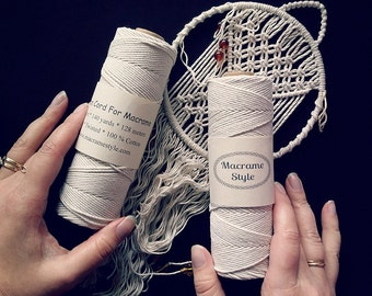 Cotton cord for macrame. Twisted macrame cord.  140 yards cotton cord. Macrame supplies. Untreated macrame cord. Macrame twine. 128 meters