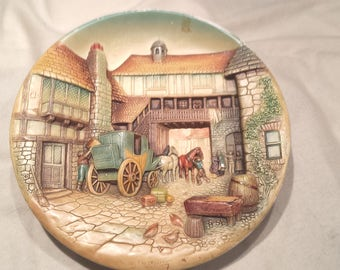"""Bossons Congleton England Hand Painted Vintage Plaque 14""""  """"The Departure"""""""