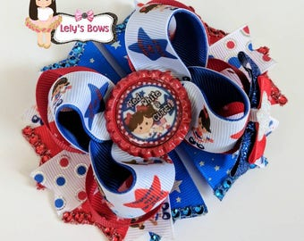 4th of July Stacked Boutique Hair Bow , 4th of July hair bow, 4th of July bow, 4th of July clip, 4th of July, Red white and cute