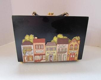 Black Box Purse Wood Handbag Town Scape Applique Victorian Style Shops Roselle Illinois Armoire North Canton Vintage Accessories