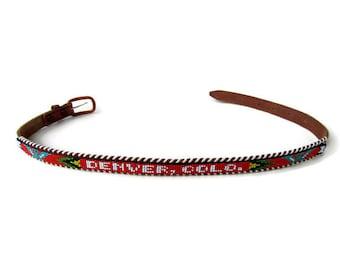 """Belt; Vintage """"Denver, Colo."""" Souvenir Indian Seed Bead Belt, Size 26"""