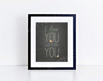 I Love You and I Like You, Leslie Knope, Ben Wyatt, Parks and Rec Print, Digital Download, Love Print, Chalkboard Print