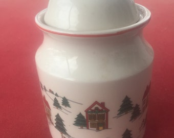 "Vintage Jamestown China ""Joy of Christmas"" canister jar"