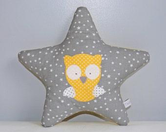 Mini cushion star grey and yellow OWL