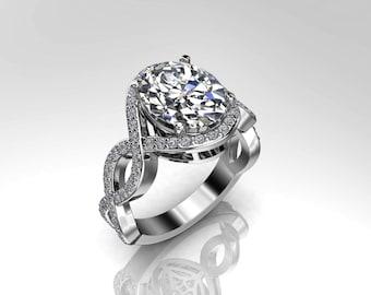 Forever One Moissanite & Natural Diamonds Twisted Engagement Ring 10x8 Oval Moissanite Center Natural .36ct Diamonds 18k Gold Diamond Ring