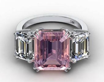 Emerald Cut Morganite Anniversary Engagement Ring 12x10mm Center 5.40ct 8x6mm Forever One Moissanites 14k White Gold Pristine Custom Rings