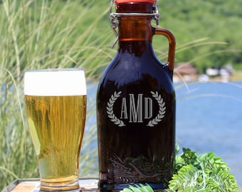 Custom Engraved Beer Growler with Ceramic Flip Top - 1 Liter - Authentic German Growler - Made in Germany * Personalized *