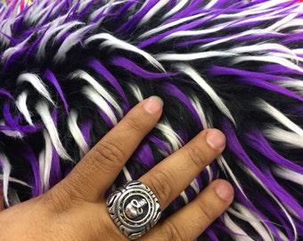 3 tone spikes faux fur- black/white/purple. Shaggy faux fur sold by the yard.