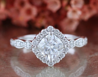 Forever One Moissanite Engagement Ring in 14k White Gold Kite Set Halo Diamond Ring 6x6mm Cushion Moissanite Scalloped Diamond Wedding Band