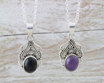 Sterling Silver Onyx or Amethyst Necklace