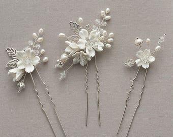 Clara   Silver Bridal Hair pins, Bridal Headpiece, Wedding Headpiece, Bridal accessories