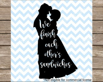 Disney SVG Frozen svg We Finish Each Other's Sandwiches SVG Elsa Princess Anna Disney DXF Valentine's Cutting File Slhouette Cameo Olaf Elsa