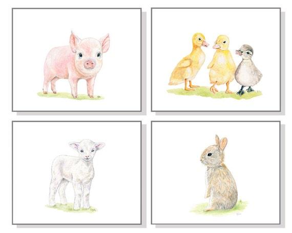 Farm Nursery Art Farm Animal Print Baby Girl Nursery Art Baby