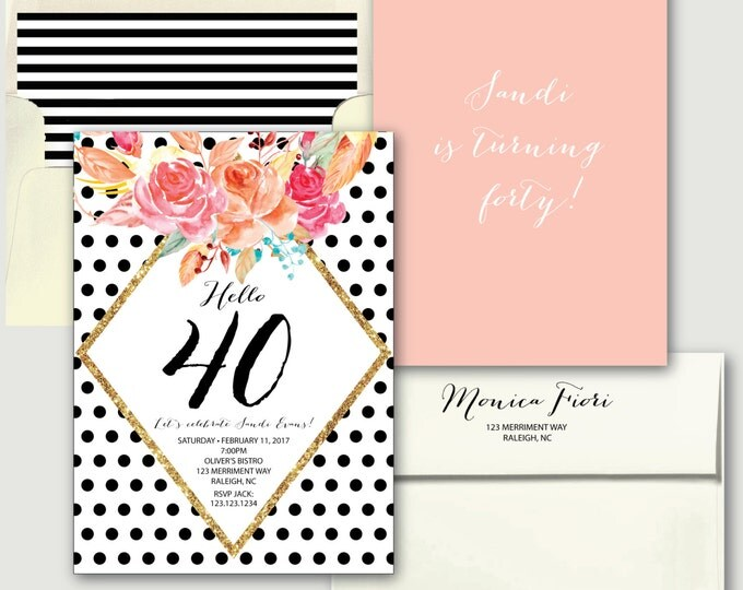 Polka Dot 40th Birthday Invitation // 30, 40, 50 // Any Age // black and white // blush pink // gold glitter // RALEIGH COLLECTION