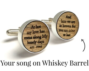 5th Anniversary Gift / Custom Whiskey Wood Cufflinks / Anniversary Gift for Boyfriend, Husband / Unique gift for Man / Customized with Song