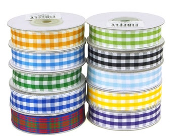 Gingham Checkered Christmas Ribbon, 5/8-Inch, 15 Yards