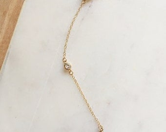 Lucy - 14kt Gold Filled Lariat Dainty Crystal Necklace. Y Necklace. Layering . 14kt Gold Filled. Coachella. Festival