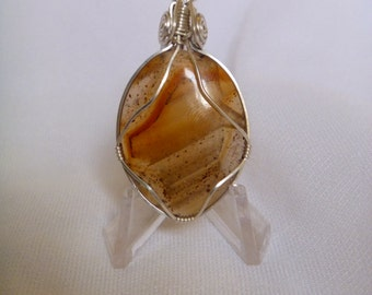 Sterling Silver Montana Moss Agate Pendant