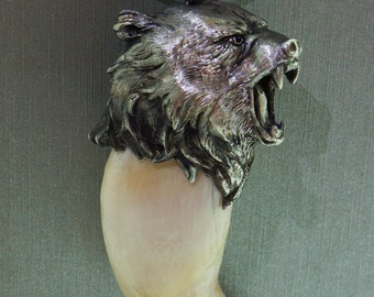 Bear tooth with silver bear's head