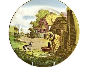 Cauldon England Decorative Plate of Farmyard Dogs  - Scarce Antique China Wall Plate for Country Decor, Farmhouse Decor or Dog Lover Gift