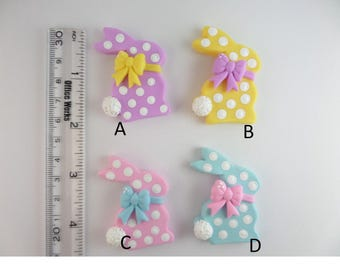 Easter bunny polka dots  Clay Charm Bead, Scrapbooking, Bow Center, Pendant.
