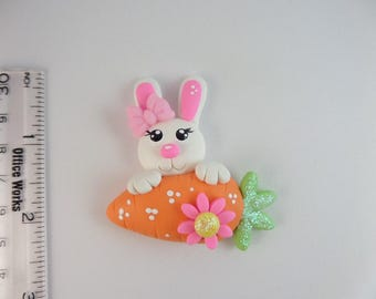 Easter bunny carrot.  Clay Charm Bead, Scrapbooking, Bow Center, Pendant.