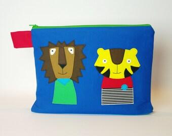 "Diaper bag/cosmetic bag ""Lion and Tiger"""
