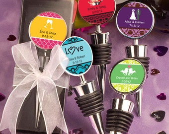Personalized Wine Bottle Stopper Wedding Bridal Shower Favor 25-75 Qty  FC6713