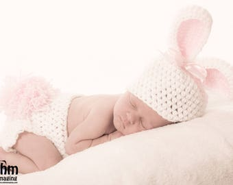 Baby Bunny Beanie and Diaper cover Set - bunny hat - bunny photography prop - newborn prop - baby rabbit hat - animal hat - baby girl hat