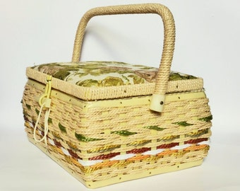 Large Vintage Wicker and Tapestry Sewing Box, Woven Sewing Basket with Handle, Cottage Chic Crafts Storage, Cute Sewing Room Decor