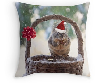Christmas Pillow, Christmas Gifts, Christmas Cushion, Squirrel Gifts, Squirrel Pillow, Funny Throw Pillow, Cute Cushions, Winter Decor