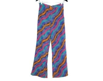 70s vintage psychedelic colored women pants - vintage clothing