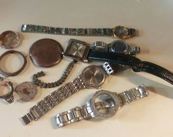 Junk Drawer lot of Broken Old Watches and Old Watch Parts
