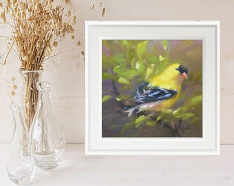Wall art, Nursery decor, Bird painting, Yellow  Bird, Goldfinch, art print, Gift for her, giclee print,  Art and collectibles, paintings