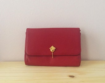 1980s Red Purse | Small Retro Shoulder Bag | Gifts For Her Under 50