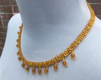 Handcrafted - Woven - Glass Seed Bead Necklace - Vintage Jewellery - Gift for Her - Birthday Present - Mustard - Ochre