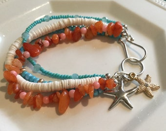 Beachy turquoise and starfish bracelet